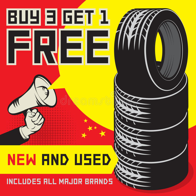 Buy 3 get 1 free tires poster stock vector illustration for Buy cheap posters online