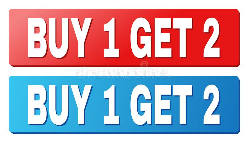 BUY 1 GET 2 Caption on Blue and Red Rectangle Buttons. BUY 1 GET 2 text on rounded rectangle buttons. Designed with white caption with shadow and blue and red vector illustration