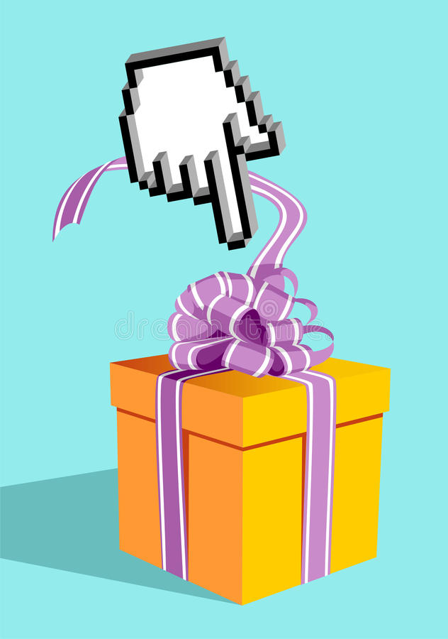 Buy gifts in the whole world, with this hand. Icon hand e-commerce pointing a gift box
