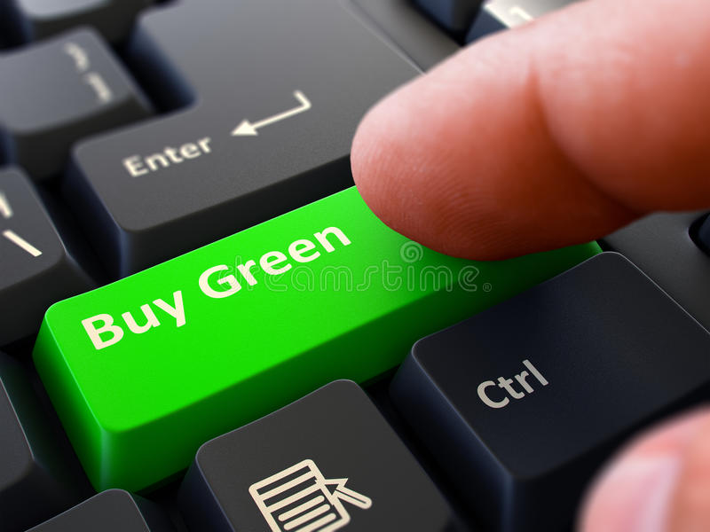 Buy Green Concept. Person Click Keyboard Button. Person Click on Green Keyboard Button with Text Buy Green. Selective Focus. Closeup View royalty free stock images