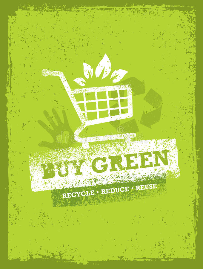 Buy Green Eco Shopping Cart. Organic Food Nature Friendly Vector Concept royalty free illustration