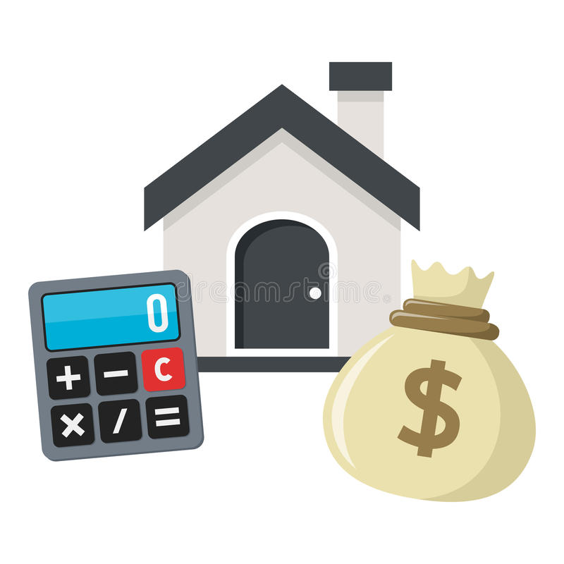 Buy a House, Loan or Mortgage Concept. Buy the right house flat icon concept with a small home or house, a money bag and a calculator, isolated on white royalty free illustration