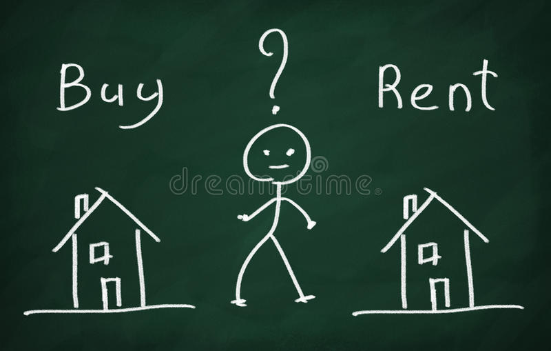 Buy house or rent? royalty free illustration