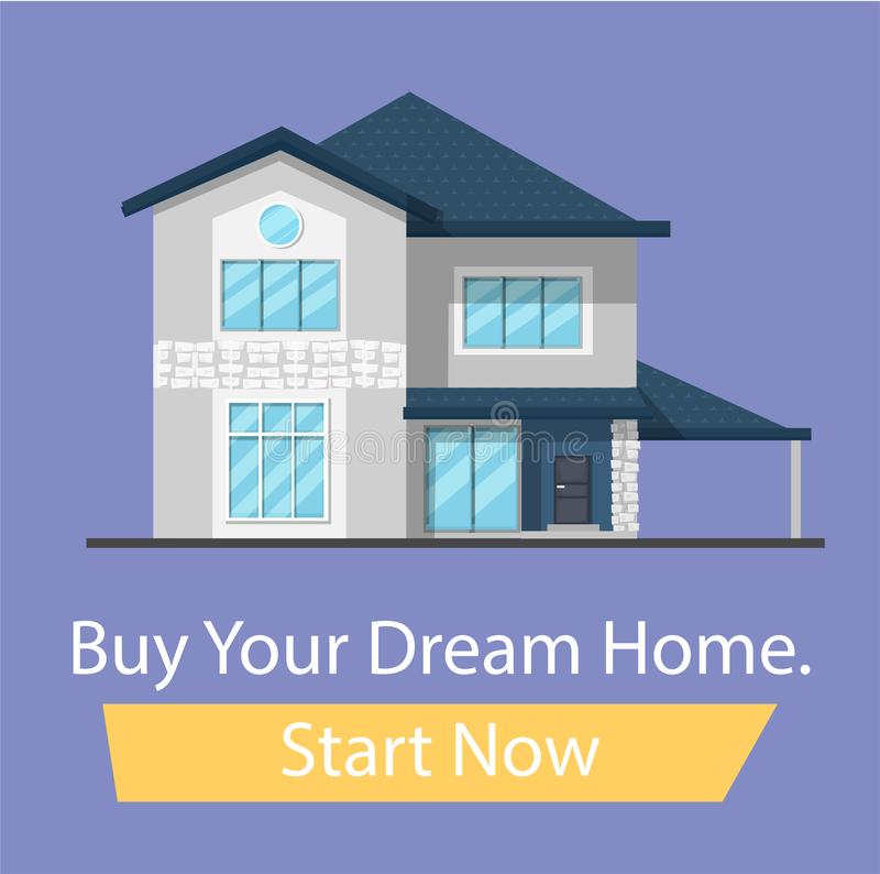 Buy the house of your dreams, start now button. Banner for the site cartoon flat family house. Vector illustration royalty free illustration