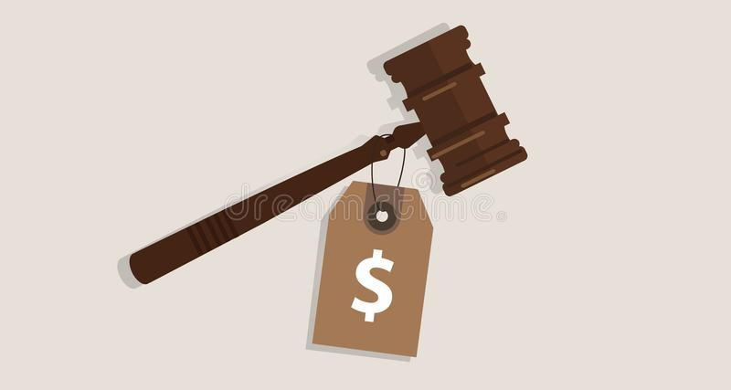 Buy justice law price tag dollar sign on hammer bribery corrupted trial judgment concept of auction. Vector royalty free illustration