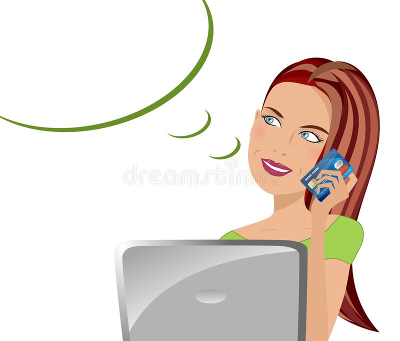 Woman Buy On Line royalty free illustration