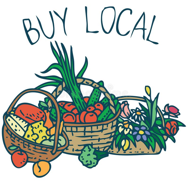 Buy Local. Farmers Market Purchases. Farmers Market Purchases. Wicker Baskets with Vegetables, Fruits, Cheese and Flowers on a White Background. Buy Local stock illustration
