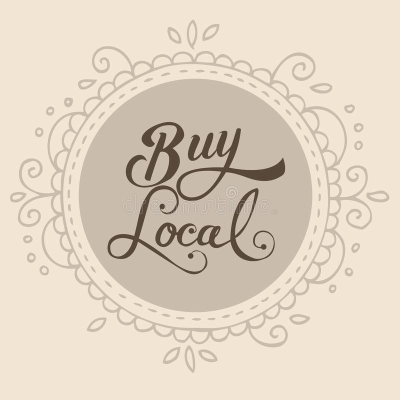 Buy local text sign symbol badge label stock illustration