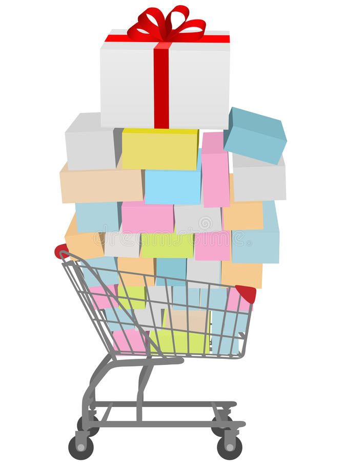 Buy many gift boxes full shopping cart stock illustration