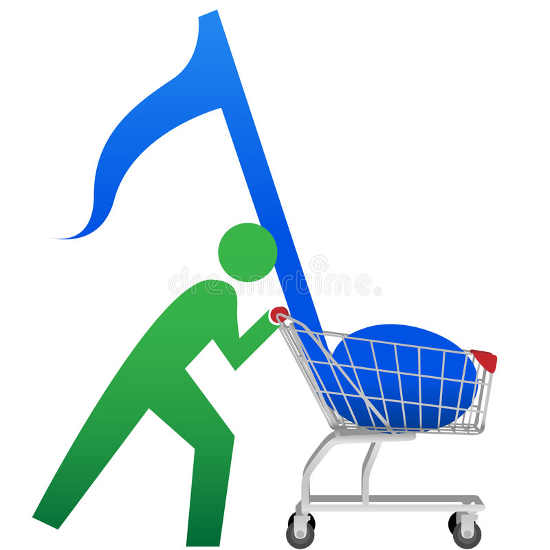 BUY MUSIC symbol person note in shopping cart. A symbol person buys music to download online in a shopping cart icon vector illustration