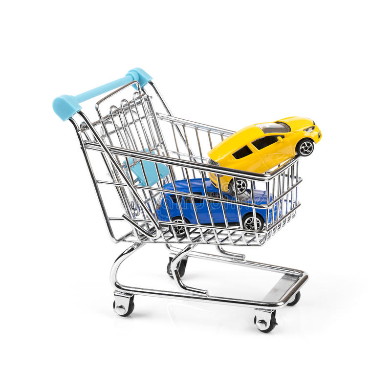 Buy new car concept, two cars in a shopping cart royalty free stock photography