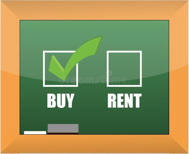Buy not rent blackboard concept illustration royalty free illustration