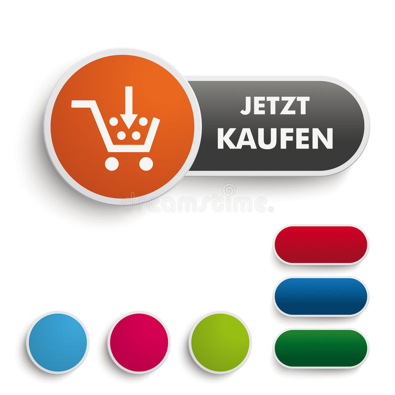 Buy It Now Button Black Orange PiAd. Infographic design on the grey background. Germant text Jetzt kaufen, translate buy it now. Eps 10 file vector illustration