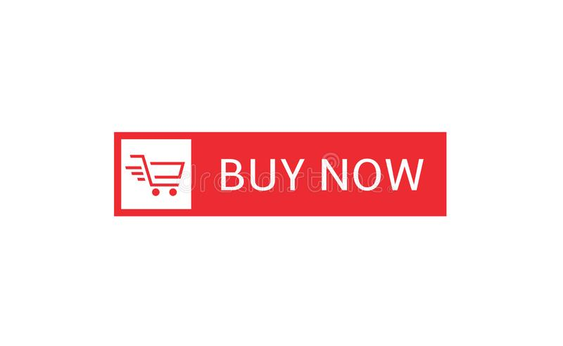 Buy now button. Red  with shopping cart icon template, Web design elements vector illustration