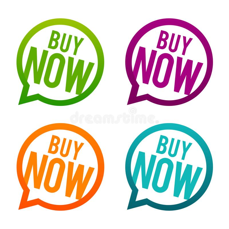Buy now Buttons. Circle Eps10 Vector. stock illustration