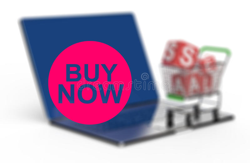 Buy now on laptop computer with cart. As concept stock illustration
