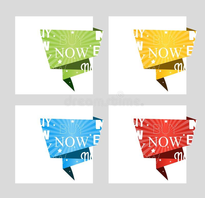 Buy now. Paper origami speech bubble isolated on white for design of advertisement label, sticker. Vector stock illustration
