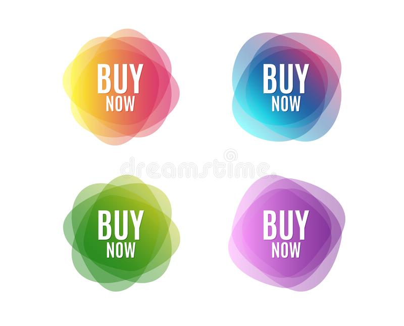 Buy Now. Special offer price sign. Advertising Discounts symbol. Colorful round banners. Overlay colors shapes. Abstract design concept. Vector stock illustration