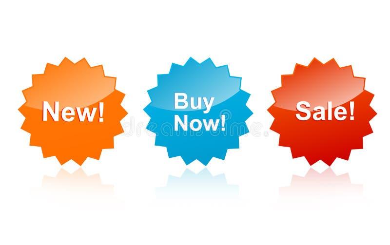 /buy nu /new van de verkoop etiketten vector illustratie