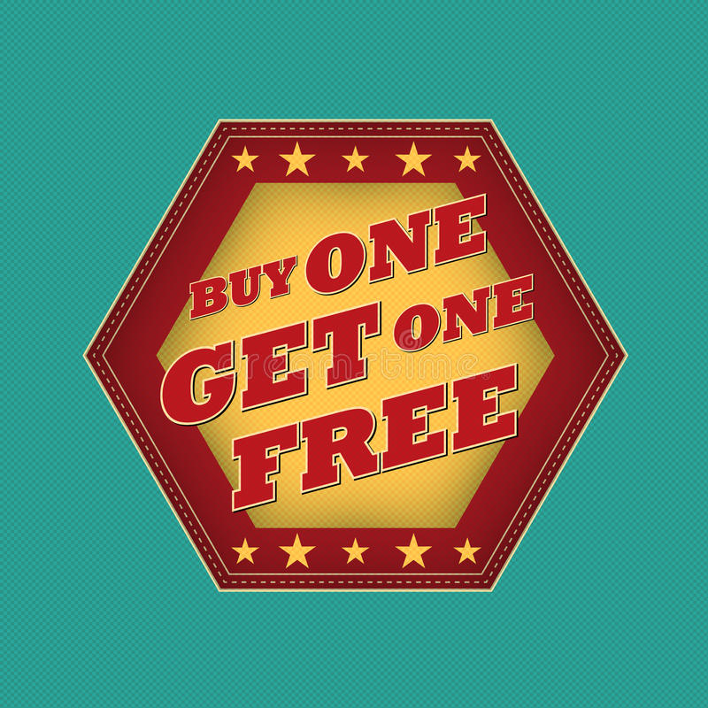 Buy One Get One: Retro Label Royalty Free Stock
