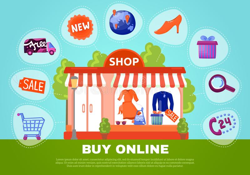 Buy Online Poster. With shop showcase in centre and search sale basket delivery flat icons around vector illustration stock illustration