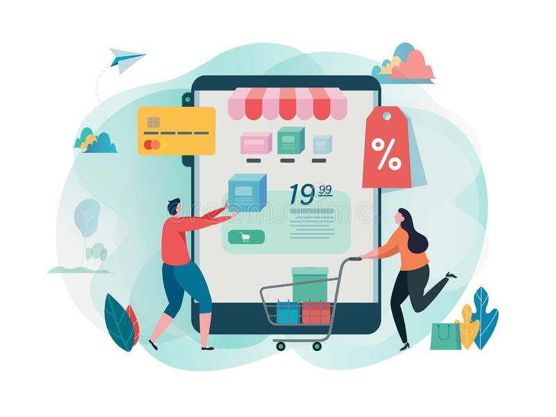 Buy online shop. Shopping on mobile. Online store. internet marketing. Online payment. Flat cartoon character graphic design. stock illustration