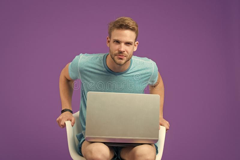 Buy online. Take advantages online shopping. Free internet access. Man with modern laptop surfing internet. Modern stock images