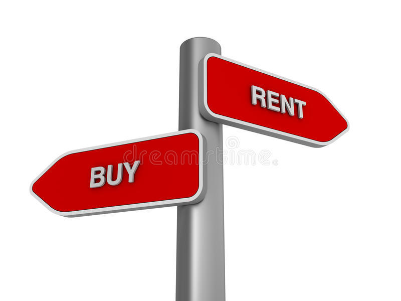 Buy Rent Choice. Three dimensional illustration of Directional Sign to choice Buy Rent stock illustration