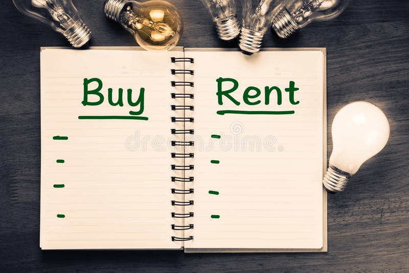 Buy and Rent Comparison. With glowing light bulbs royalty free stock photos