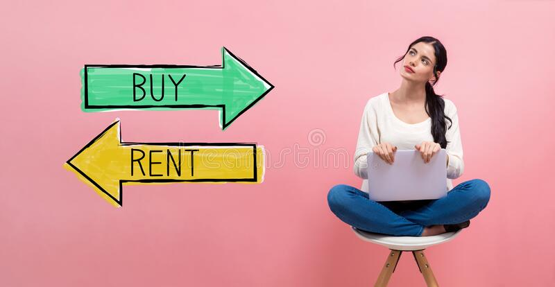 Buy or rent concept with woman using a laptop royalty free stock photo