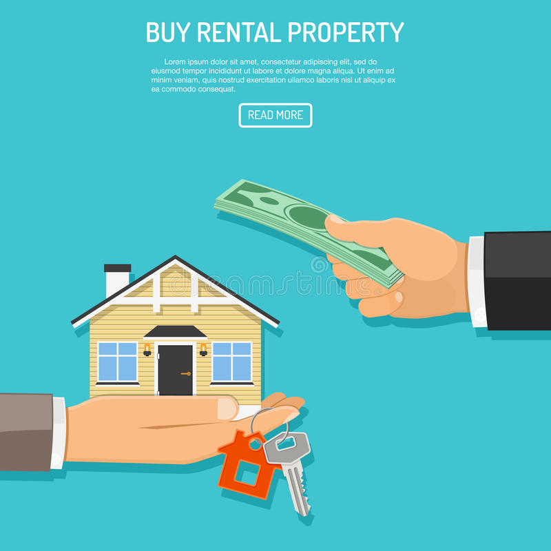 Buy rent real estate. Hand with money and hand with house and keys. flat style icons. sale, purchase, lease, rent of real estate concept. isolated vector vector illustration