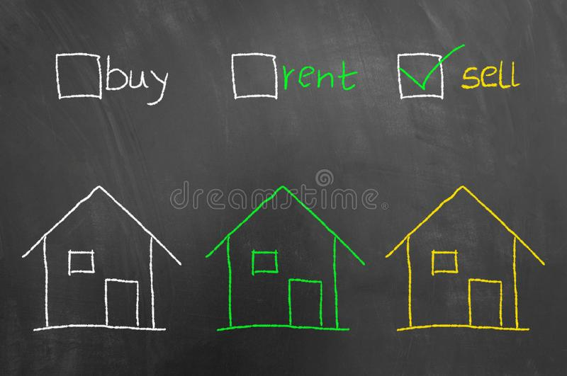 Buy rent sell checkbox house drawing on blackboard royalty free stock photos