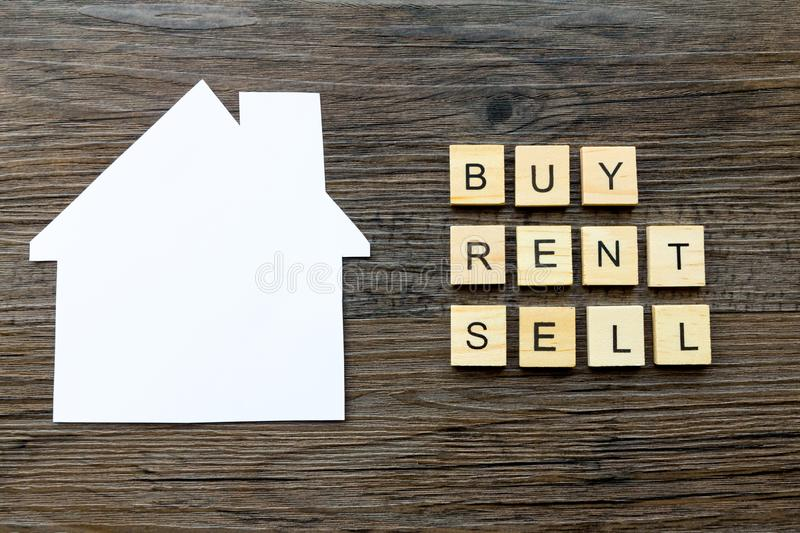 Buy, Rent, Sell - Housing Market Concept stock image
