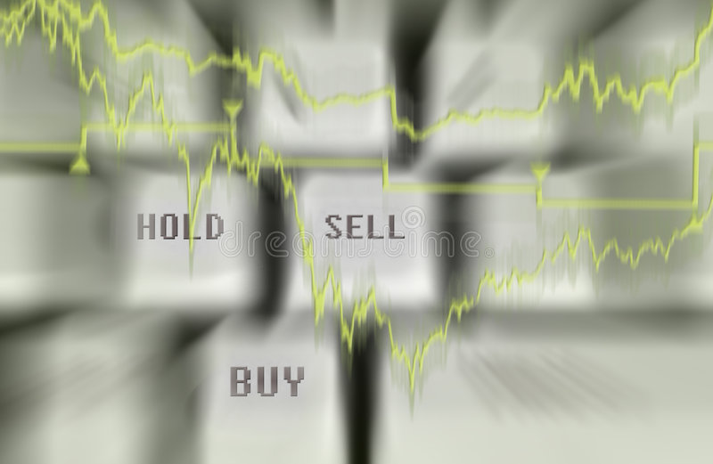 Buy and sell. Quotes projection on a keyboard with graph and buy and sell button royalty free stock photography