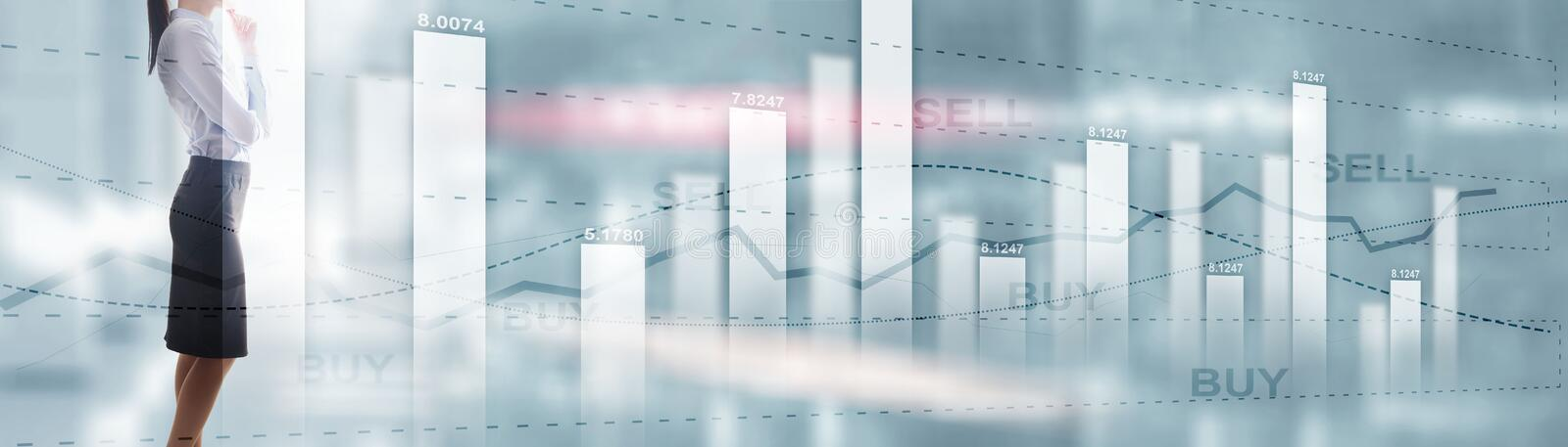 Buy and sell finacial concept. Business Graph Stock Market chart. Digital charts and screen interface. Panoramic banner. Buy and sell finacial concept. Business stock image