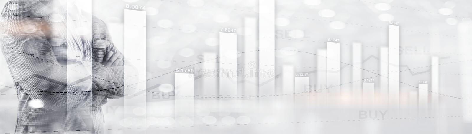 Buy and sell finacial concept. Business Graph Stock Market chart. Digital charts and screen interface. Panoramic banner. Buy and sell finacial concept. Business royalty free stock photography