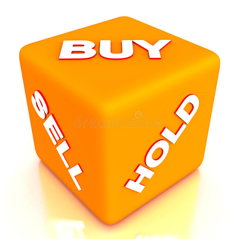 Buy sell hold dice. A dice with buy sell or hold sides showing the hard decision one has to take while holding securities or stocks stock illustration
