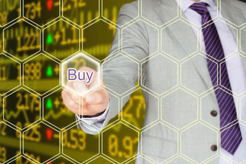 Buy on the stock market in yellow stock photography