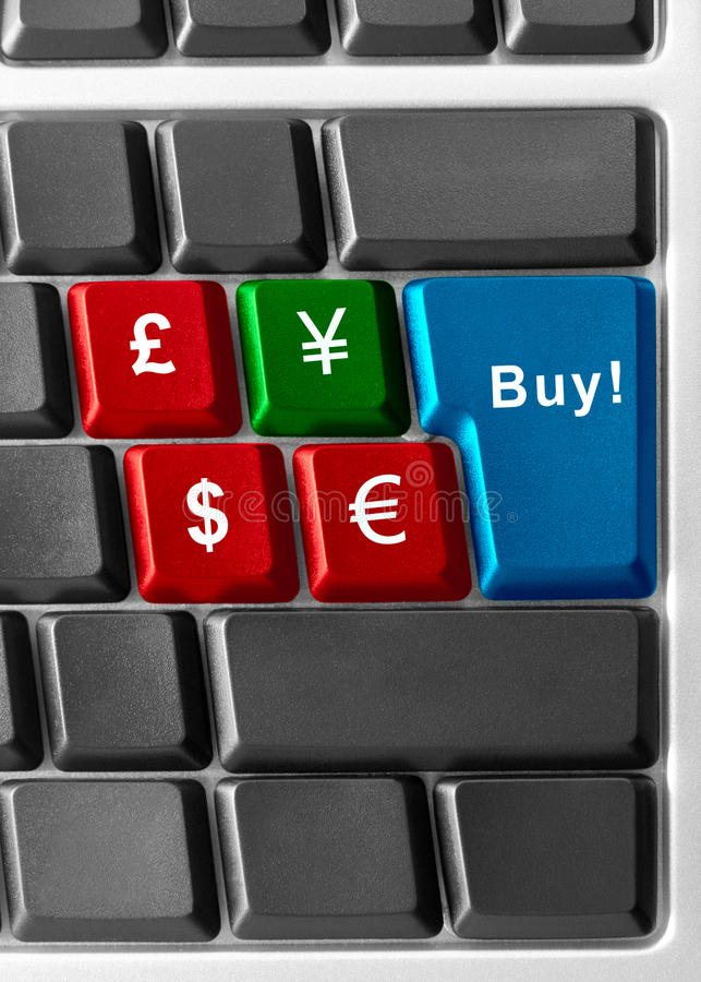 Buy yen!. Computer keyboard with currency buttons royalty free stock photo