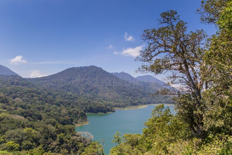 Buyan and Tambligan twin lakes on Bali. Indonesia royalty free stock photo