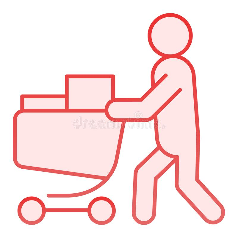 Buyer with full cart flat icon. Person with a full grocery cart pink icons in trendy flat style. Shopping gradient style royalty free illustration