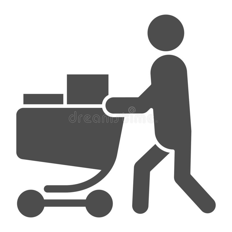 Buyer with full cart solid icon. Person with a full grocery cart vector illustration isolated on white. Shopping glyph royalty free illustration