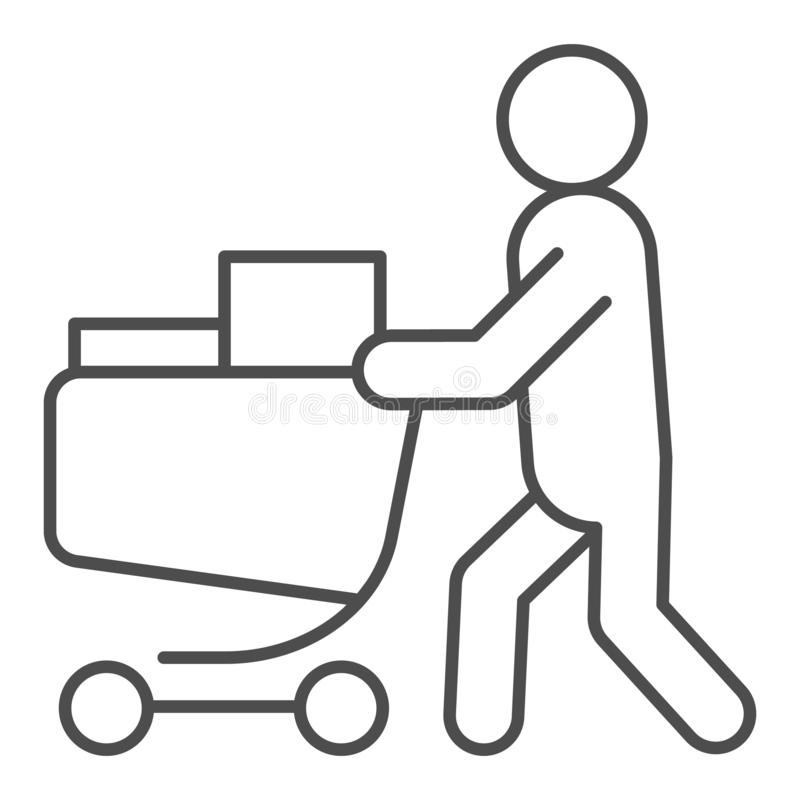 Buyer with full cart thin line icon. Person with a full grocery cart vector illustration isolated on white. Shopping royalty free illustration