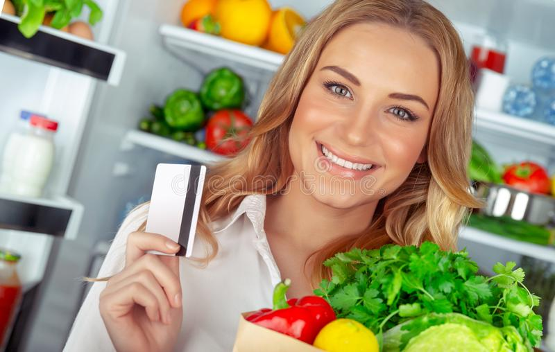 Buyer of a healthy food stock photos