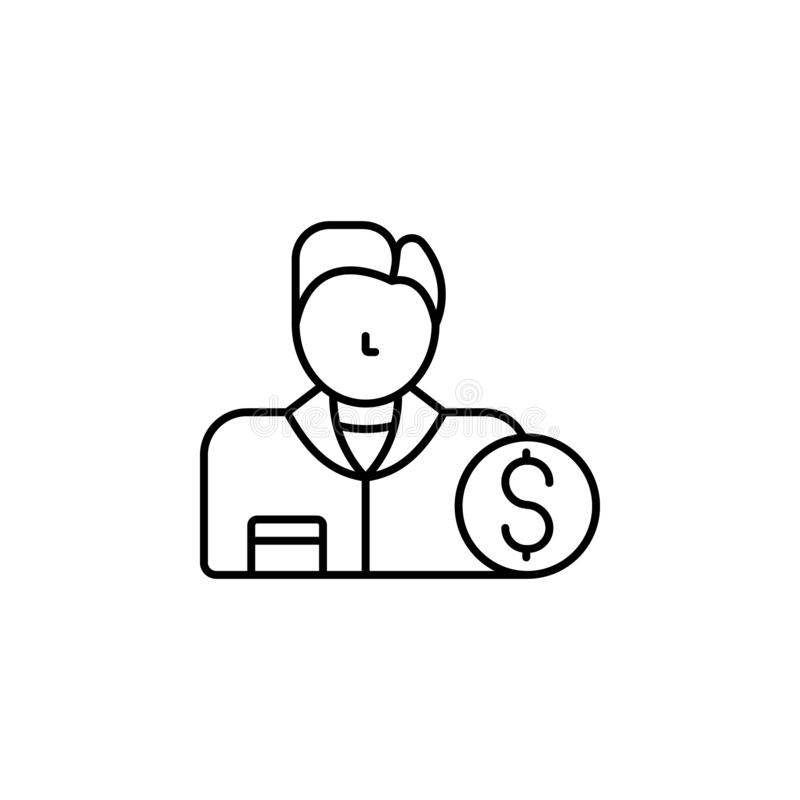 buyer icon. Simple thin line, outline vector of Real Estate icons for UI and UX, website or mobile application stock illustration