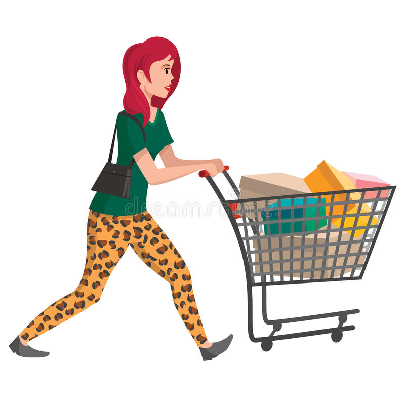 Buyer illustration. Girl with shopping cart. Vector character for your design. stock illustration