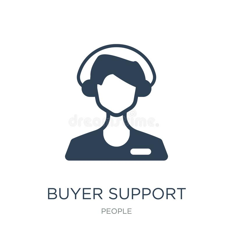 buyer support icon in trendy design style. buyer support icon isolated on white background. buyer support vector icon simple and stock illustration