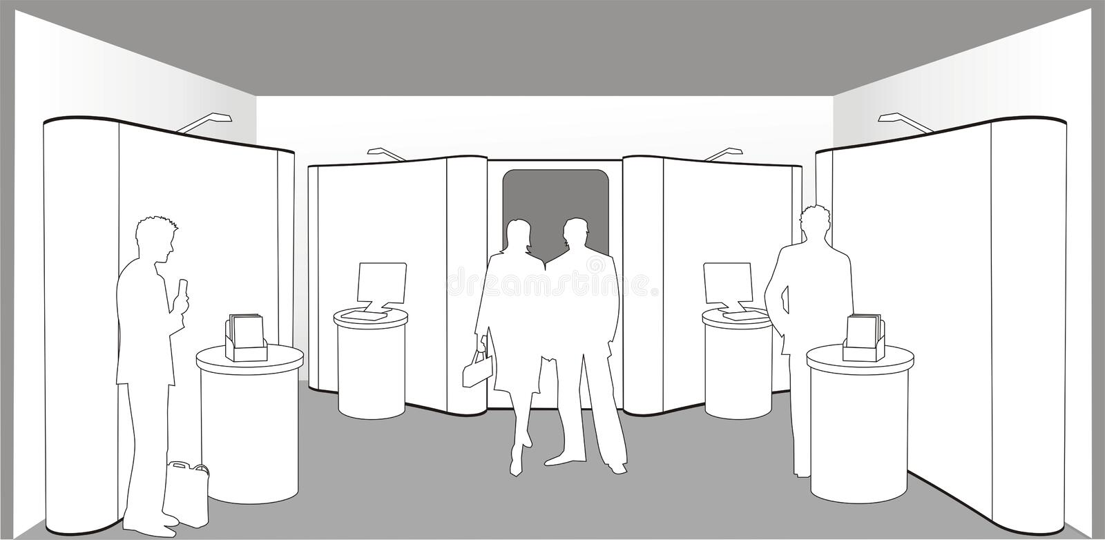 Buyers at an exhibition. Illustration of silhouettes of people looking at an exhibition stand with room for logos and copy stock illustration