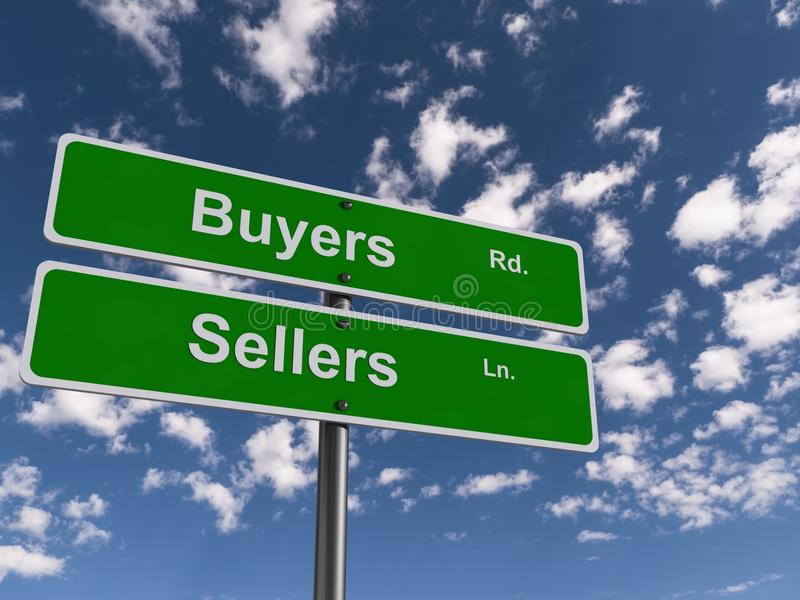Buyers and sellers road sign. Buyers road and sellers lane road sign with blue sky and cloudscape background royalty free stock photography