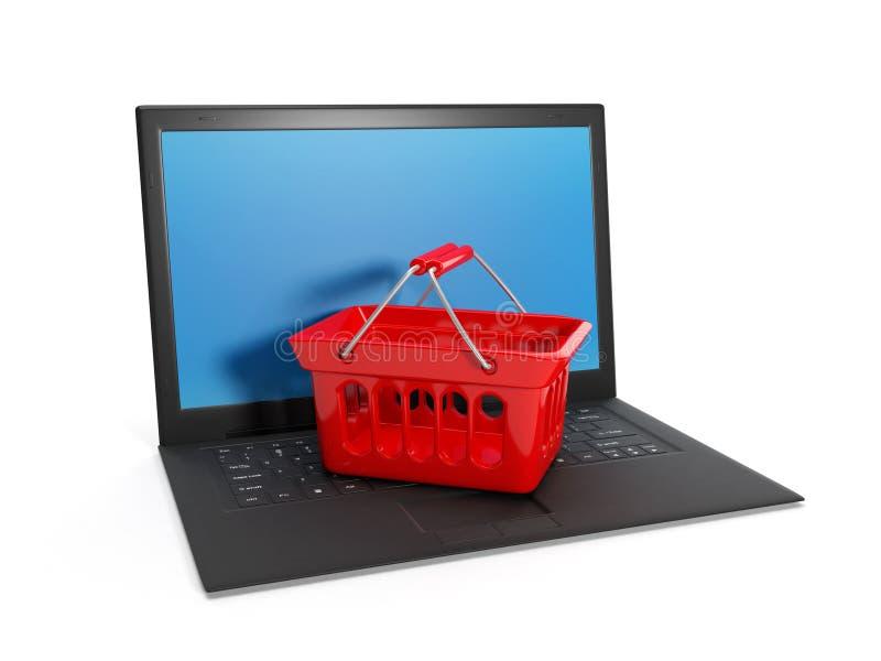 Buying över internet vektor illustrationer